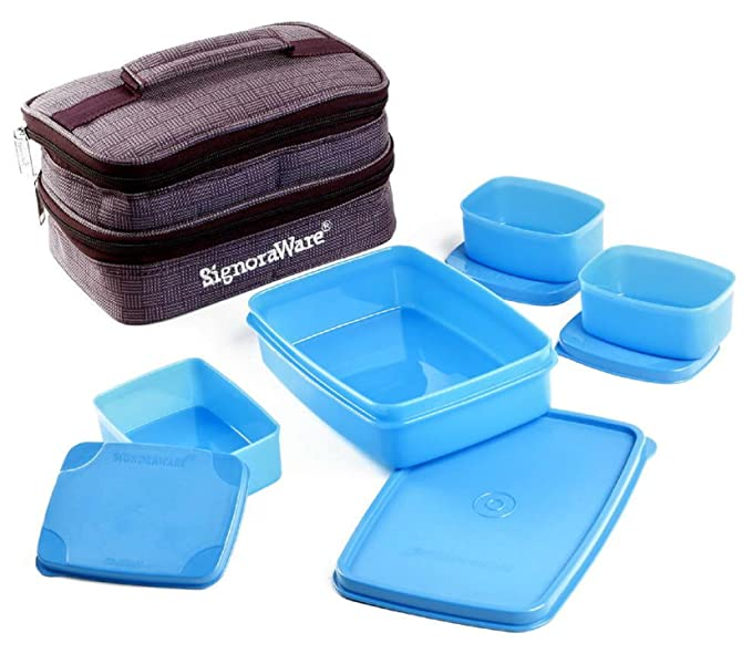 Signoraware Fortune Lunch Box with Bag, Blue Lunch Boxes