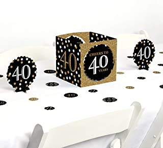product image for Big Dot of Happiness Adult 40th Birthday - Gold - Birthday Party Centerpiece & Table Decoration Kit