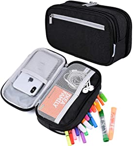 Pencil Case, Big Capacity Pen Case Pencil Bag Pouch Pen Pencil Marker Holder Stationery Case Desk Organizer with Large Storage for Boys Girls School and Office Supplies, Black