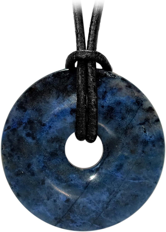 Cadena de cuero de Kaltner Präsente con colgante de piedra preciosa dumortierita en forma de donut. Idea de regalo para hombre y mujer (30 mm de diámetro)