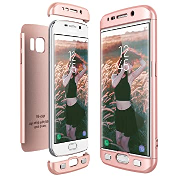 CE-Link Funda Samsung Galaxy S6 Edge, Carcasa Fundas para Samsung Galaxy S6 Edge, 3 en 1 Desmontable Ultra-Delgado Anti-Arañazos Case Protectora - Oro ...
