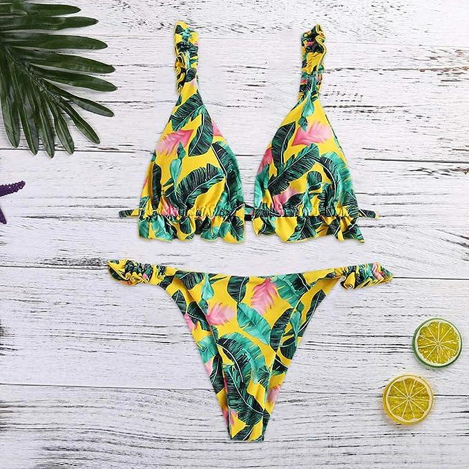 MINXINWY_Bikini Mujer Bañador Mujer Natacion, impresión Push up ...