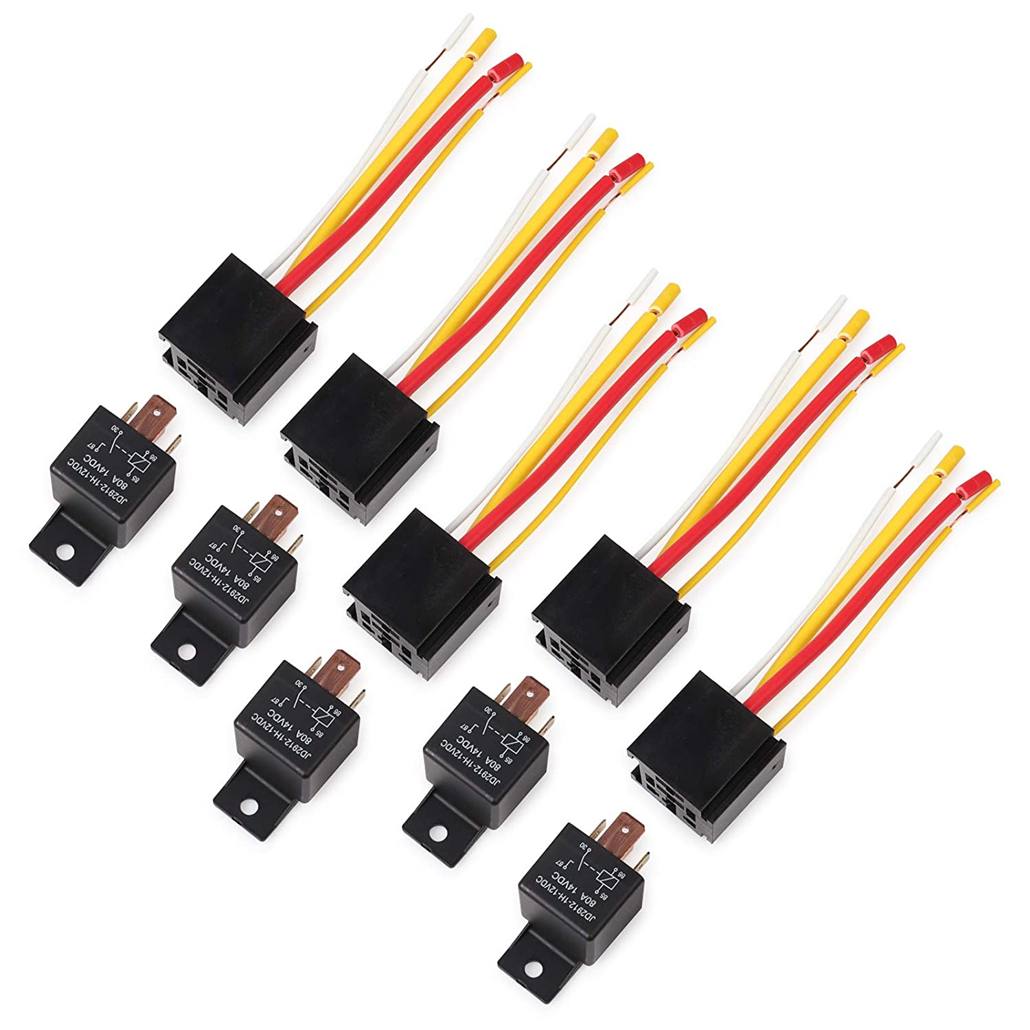 1 Pack Car Truck Motor Heavy Duty Heavy Duty 4-Pin 80A 12V on//Off normalement Ouvert SPST Relais Socket Plug-4 Fils Automobile Ehdis/®