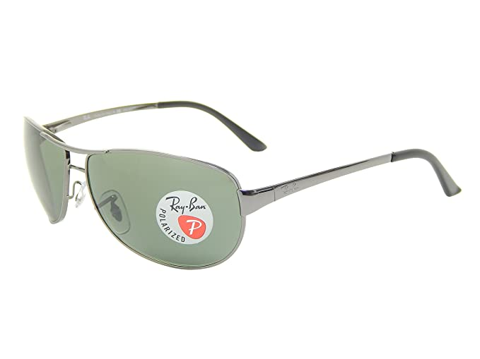 f8fff12432f31 Image Unavailable. Image not available for. Colour  Ray Ban Warrior RB3342  004 58 Gunmetal Crystal Green 60mm Polarized Sunglasses