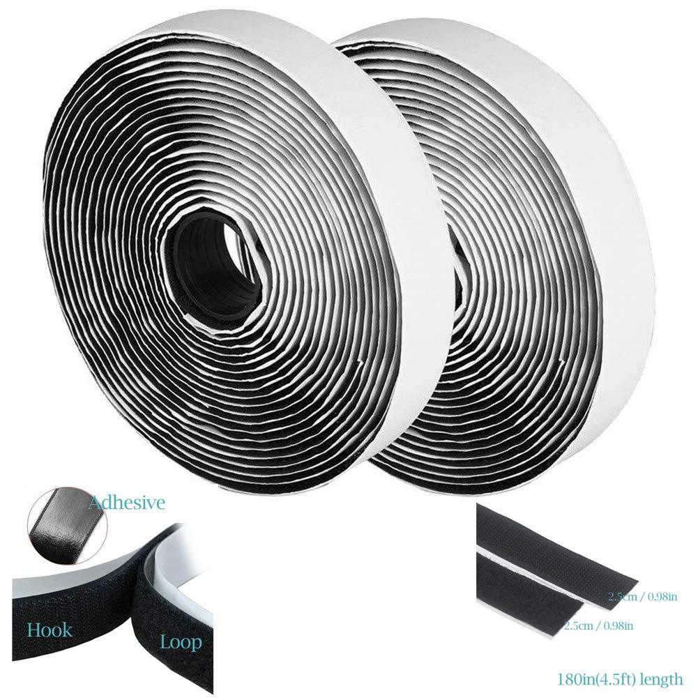 MSPowerstrange Multipurpose 1 inch 5 Yards 15 Feet Self Adhesive Tape Hook and Loop15 Feet (15 Feet of of Hook + Loop) Fastener Extra Sticky Back by MSPowerstrange