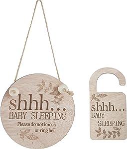 Eden Elements - Baby Sleeping Sign for Front Door | Please Do Not Ring Doorbell Sign for Your Baby's Peaceful Sleep | Baby Sleeping Sign for Bedroom and Room Décor, Door Knob, Doorbell, Nursery