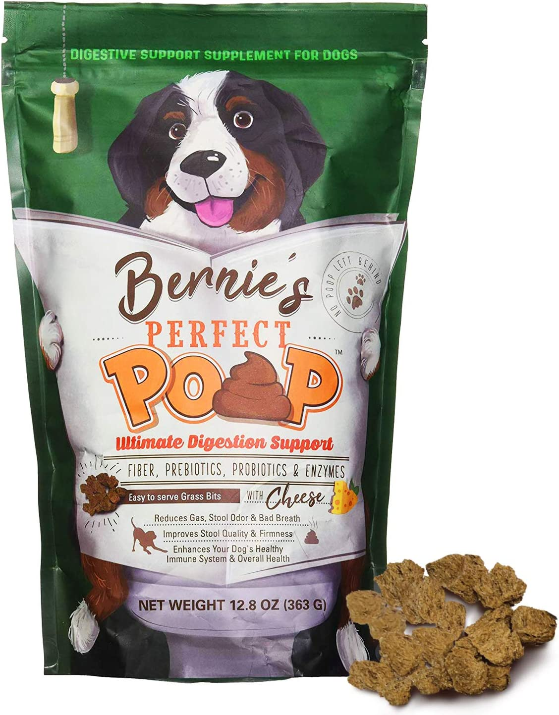 BERNIE'S PERFECT POOP Digestion & General Health Supplement for Dogs: Fiber, Prebiotics, Probiotics & Enzymes Relieve Digestive Conditions, Optimize Stool, and Improve Health