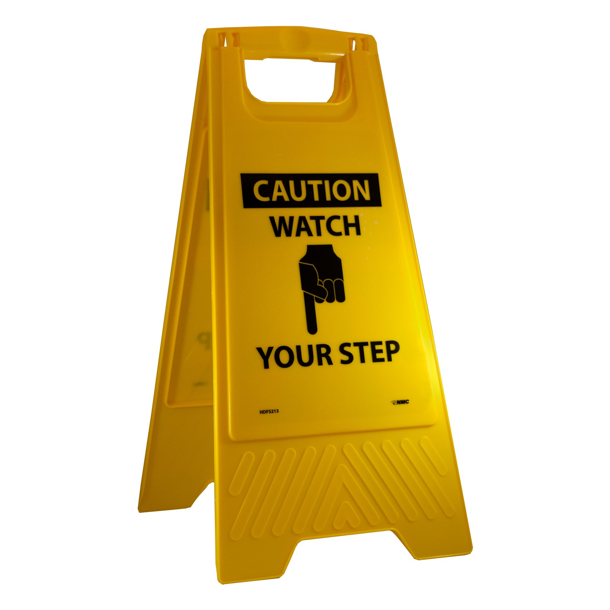 NMC HDFS213 Heavy Duty Floor Stand Sign, Legend ''CAUTION - WATCH YOUR STEP'' with Graphic, 10-3/4'' Length x 24-5/8'' Height, Black on Yellow