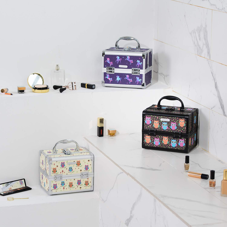 Joligrace Makeup Train Case for Girls Cosmetic Box Jewelry Organizer Storage Trays with Mirror (Unicorn) by Joligrace