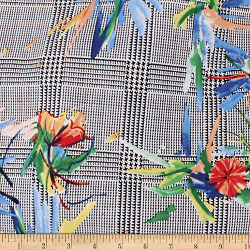 (TELIO Bloom Cotton Stretch Sateen Check Floral Black Aqua Fabric by The Yard)