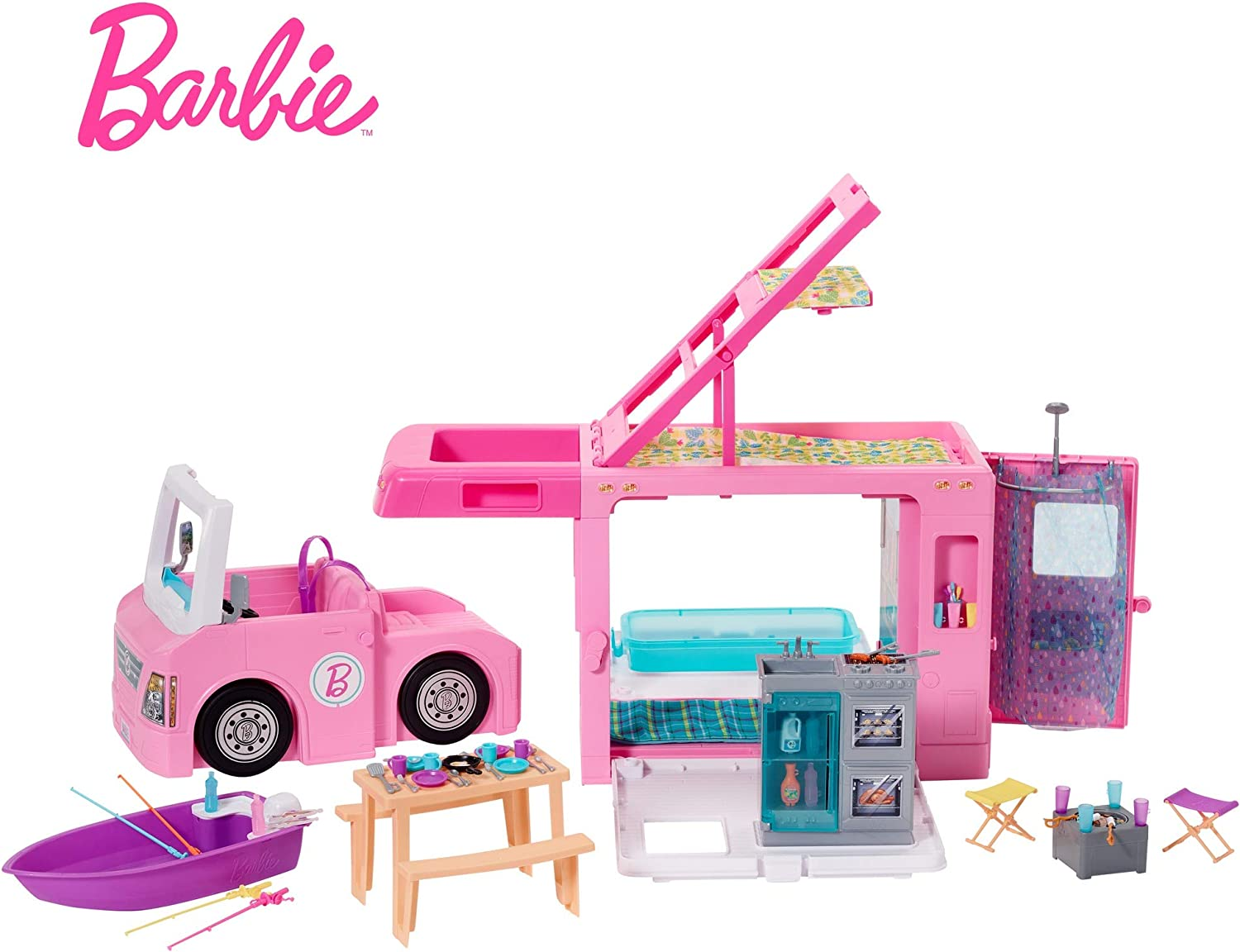 ​Barbie 3-in-1 DreamCamper Vehicle, approx. 3-ft, Transforming Camper with Pool, Truck, Boat and 50 Accessories, Makes a Great Gift for 3 to 7 Year Olds