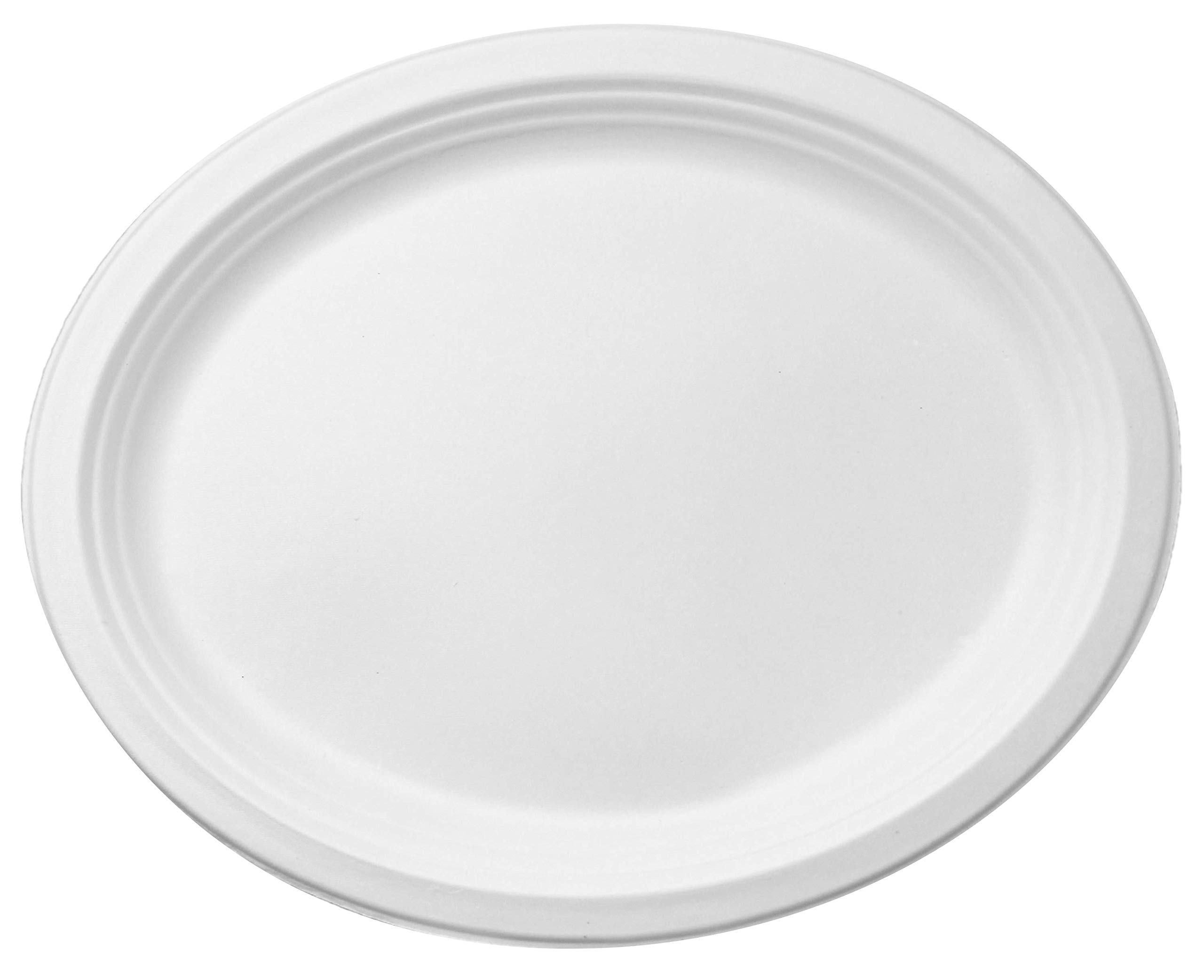 100% Compostable White Oval 12.5-inch Paper Platters, 60-Plates, Heavy-Duty Premium Quality Disposable Dinner Plate by Famaston