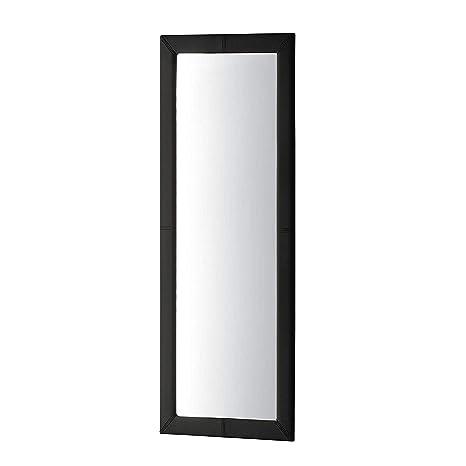 Adec - Espejo de pared tapizado, espejo rectangular cuerpo entero salón, recibidor, comedor, dormitorio, acabado en símil piel color Negro, Medidas ...