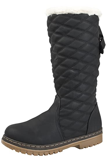 cfb0ee9dea9 LD Outlet WOMENS FUR LINED QUILTED SNOW BOOTS WINTER WARM MID CALF RIDING  BIKER FLAT GIRLS LADIES SHOES BLACK SIZE UK 5  Amazon.co.uk  Shoes   Bags