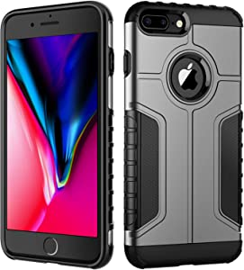 JETech Case for iPhone 8 Plus and iPhone 7 Plus, Dual Layer Protective Cover with Shock-Absorption, Grey