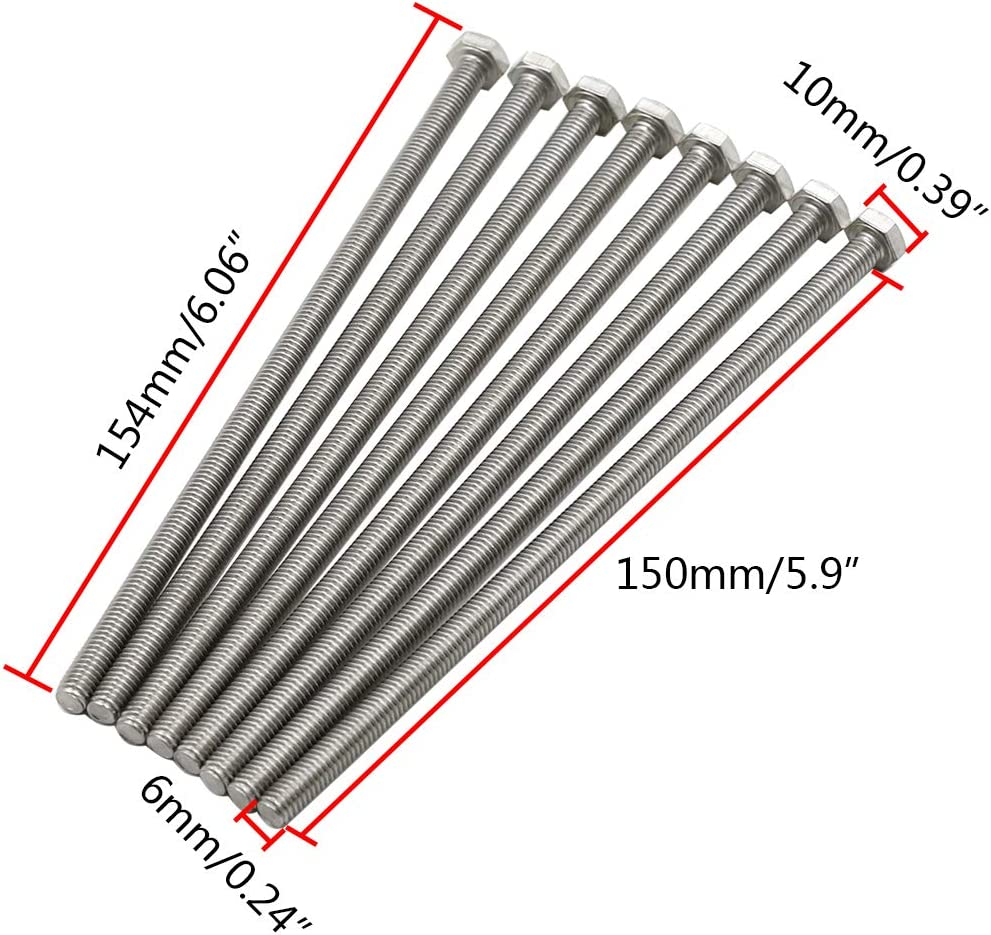 TOUHIA M6 x 150mm Hex Head Screws Bolts Fully Threaded Stainless Steel Screw Set Pack of 8