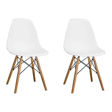 Marvelous Mod Made Mid Century Modern Armless Paris Dining Side Chair With Natural Wood Legs For Dining Room Living Room Or Kitchen White Set Of 2 Unemploymentrelief Wooden Chair Designs For Living Room Unemploymentrelieforg