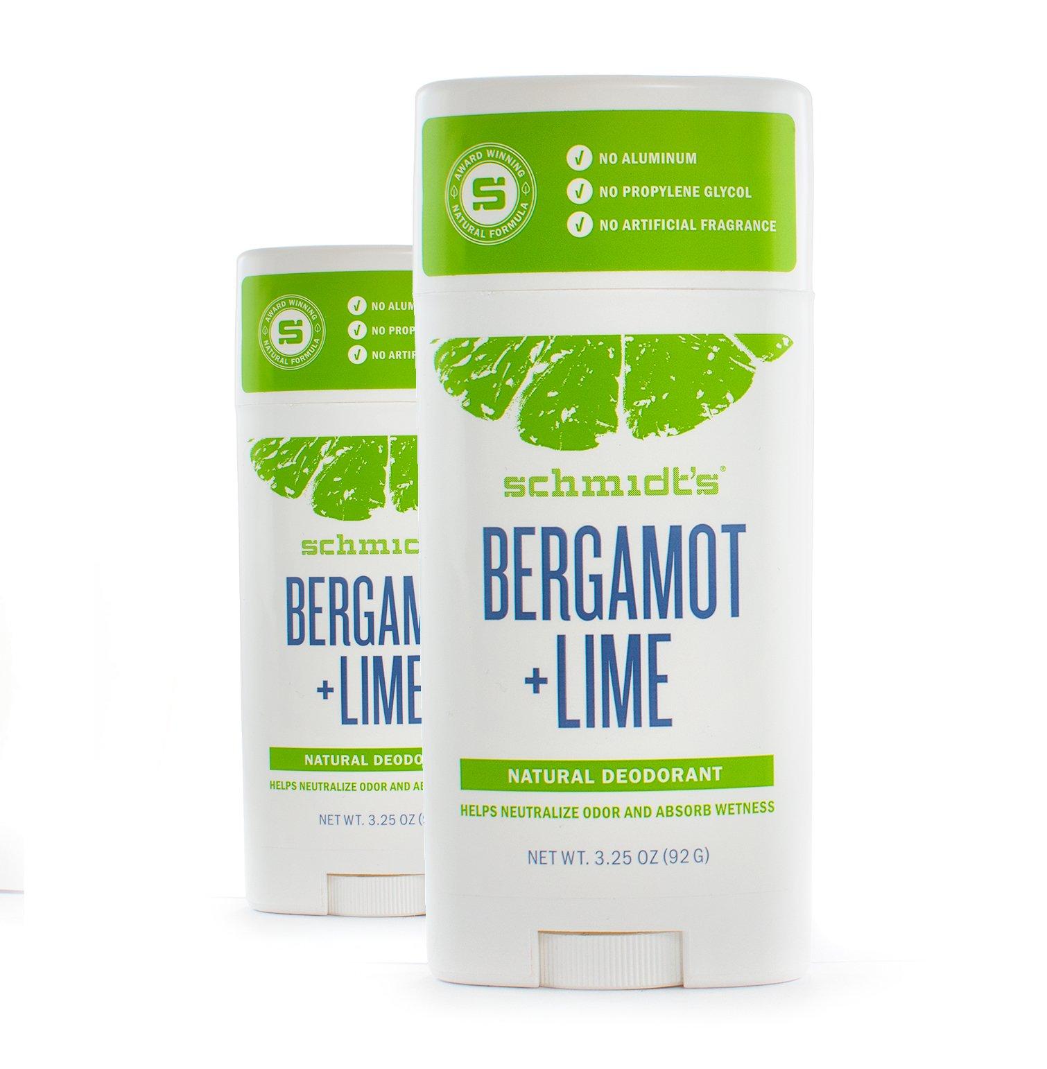 Schmidt's Deodorant, Bergamot + Lime, 3.25 oz (92 g) - 2pc