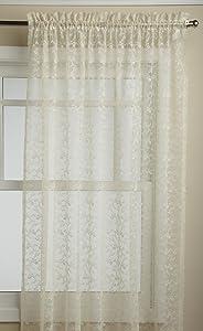 LORRAINE HOME FASHIONS Priscilla 60-inch x 72-inch Tailored Panel, Ivory