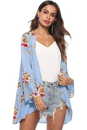 b349b445303cc kyrakiss Womens Chiffon Bikini Swimsuit Cover up Cardigan Summer Beach  Floral Loose Long Sleeve Casual Kimono