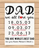 Personalised Presents Gifts For Father Daddy Step Dad Him From Sons Daughters Birthday Fathers Day Christmas Childrens Names With Date Prints Posters Wall Art Unique Special Gifts Idea