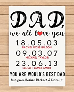 Personalised Presents Gifts For Father Daddy Step Dad Him From Sons Daughters Birthday Fathers Day Christmas