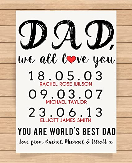 Personalised Presents Gifts For Father Daddy Step Dad Him From Sons