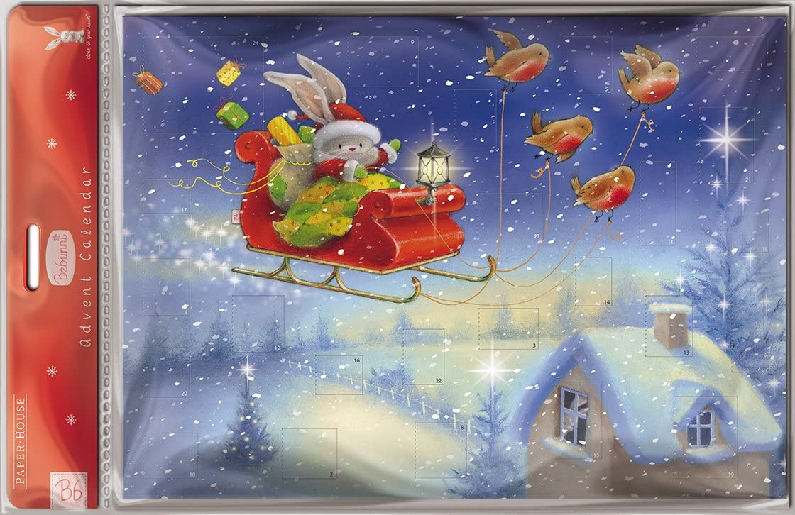 Advent Christmas Calendar with 24 Doors and White Mailing Envelope Bebunni over the rooftop 9.5 x 13 inches Medici ACL0002 Bunny Rabbit Santa in sleigh with robins