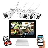 """ANNKE Kit de Seguridad WiFi 1080P 8CH NVR con Monitor 12"""" LCD y 4 Cámaras de videovigilancia 2MP inalámbrica IP66…"""