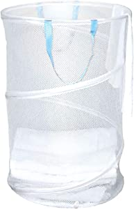 Clorox Pop Up Laundry Basket – Lightweight Mesh, Round, Holds 2.1 Bushels | Antimicrobial Protection from Bacteria and Odors | Collapsible Easy Storage | Portable, Folding Clothes Hamper, White