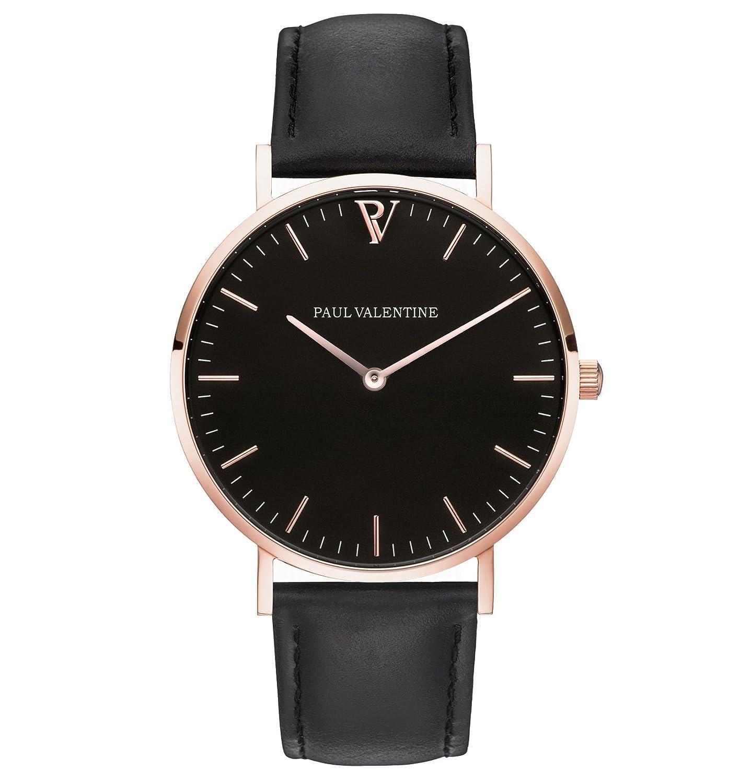 Paul Valentine Armbanduhr | Pearl Rose Gold Schwarz | Damen Uhr mit elegantem & zeitlosen Design und grauem Echtleder
