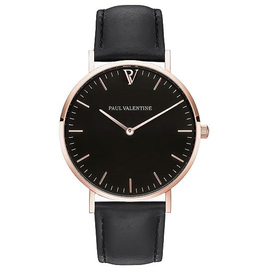 Paul Valentine | Pearl Rose Oro Negro | Mujer Reloj De Pulsera Con elegante diseño &