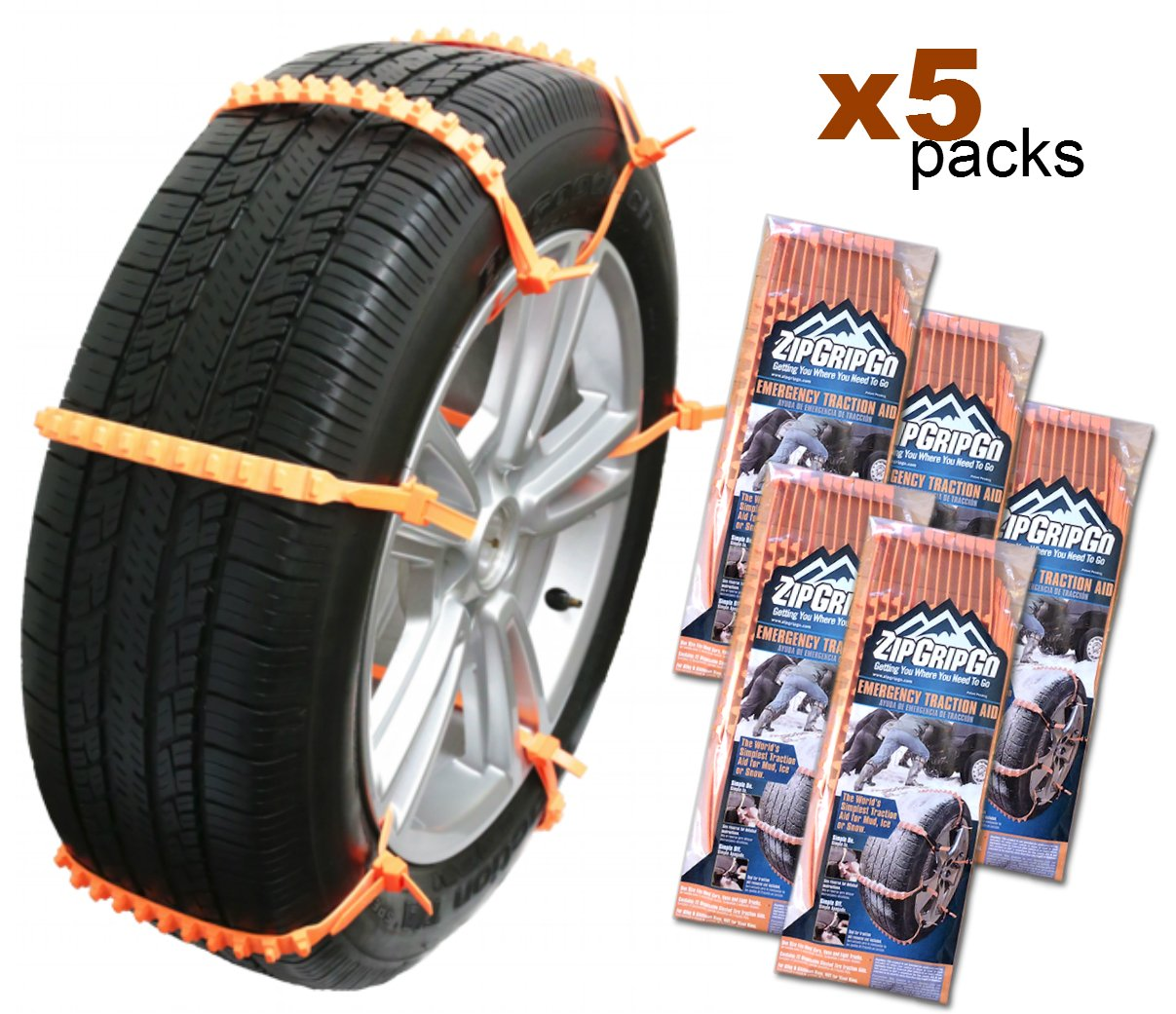Zip Grip Go - Cleated Tire Traction Aid for Snow, Ice & Mud - Emergency Winter Snow Chain Alternative Car Truck Van SUV - Bulk 50 Pack
