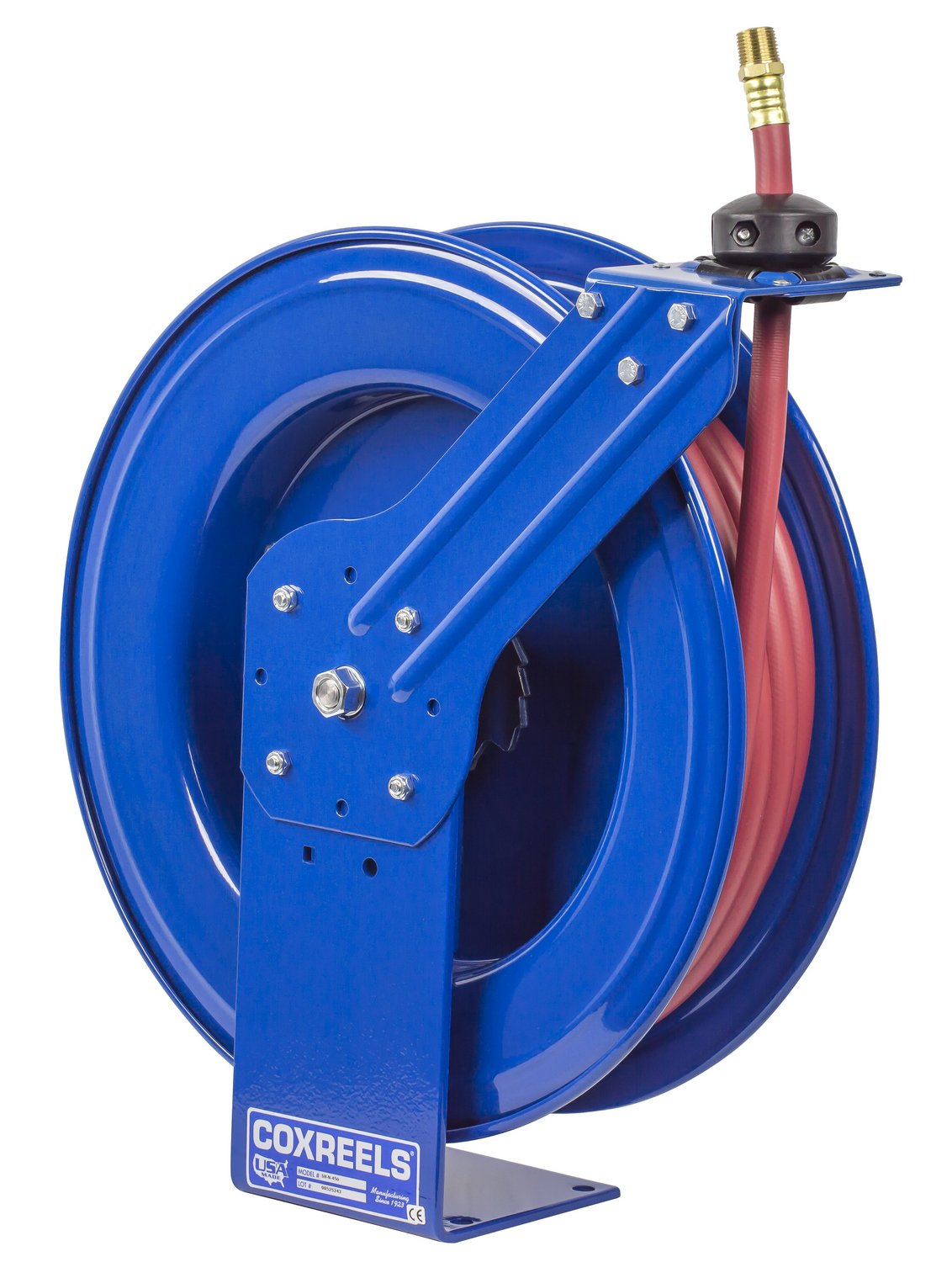 Coxreels SH-N-4100 Low Pressure Spring Rewind Hose Reel with Super Hub: 1/2'' I.D, 100' hose capacity, with hose, 300 PSI