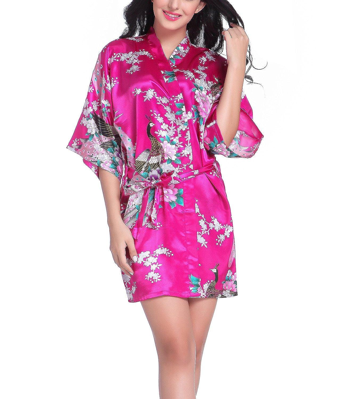 Bata tipo kimono corto para mujer, diseño de pavo real y flores, ropa de dormir hecha de seda Rosa hot pink L