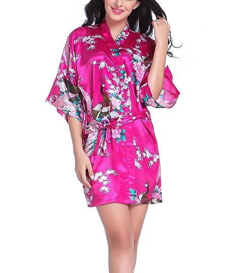 Bata tipo kimono corto para mujer, diseño de pavo real y flores, ropa de dormir hecha de seda Rosa hot pink XL: Amazon.es: Ropa y accesorios