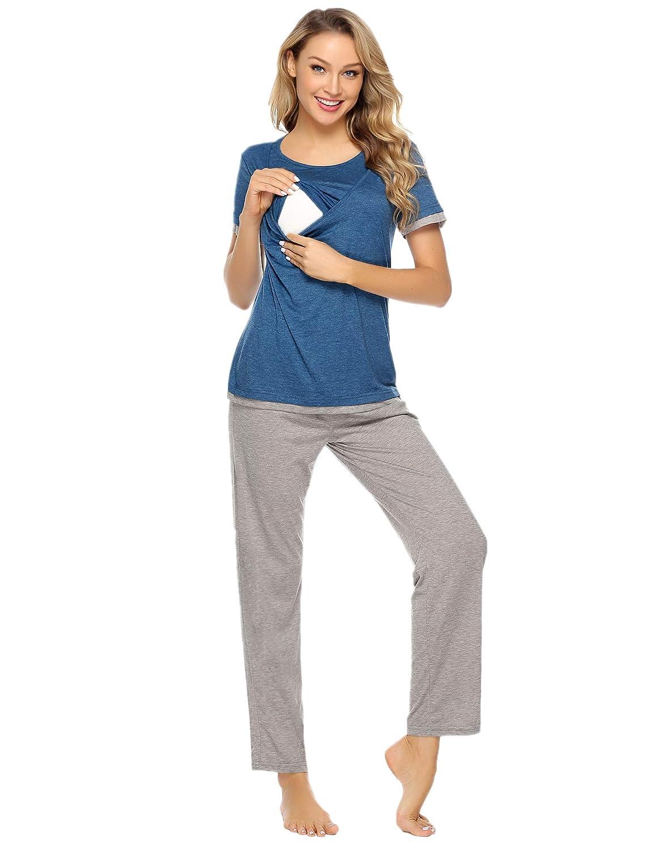 Aibrou Pijama y Camison Premamá Lactancia Algodon Casual Embarazo Ropa Maternidad Suave y Comodo para Mujer: Amazon.es: Ropa y accesorios