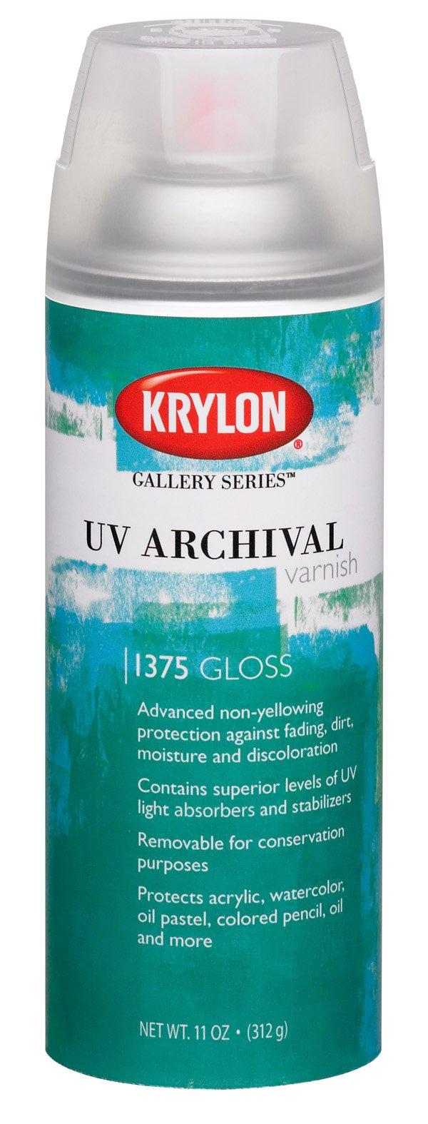 Krylon K01375000 Gallery Series UV Archival Varnish Aerosol Spray, Gloss, 11 Ounce
