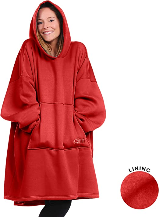 THE COMFY Classic Hooded Sweatshirt Blanket One-Size Sherpa Lined Hoodie New!