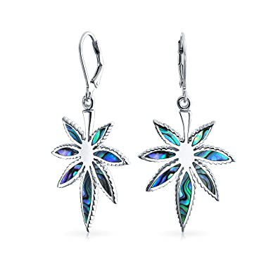 9c5512ebd Image Unavailable. Image not available for. Color: Natural Abalone Shell  Marijuana Leaf Lever Back Drop Dangle Earrings For Women 925 Sterling Silver