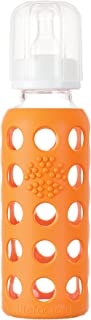 product image for Lifefactory 9-Ounce BPA-Free Glass Baby Bottle with Protective Silicone Sleeve and Stage 2 Nipple, Orange