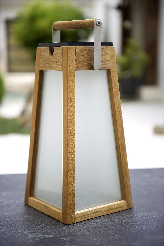 LED autonomie de 5 /à 200 heures en teck naturel//H 39 cm d/'ext/érieur Lanterne SOLAIRE /& rechargeable USB d/étecteur de pr/ésence 500 Lumens