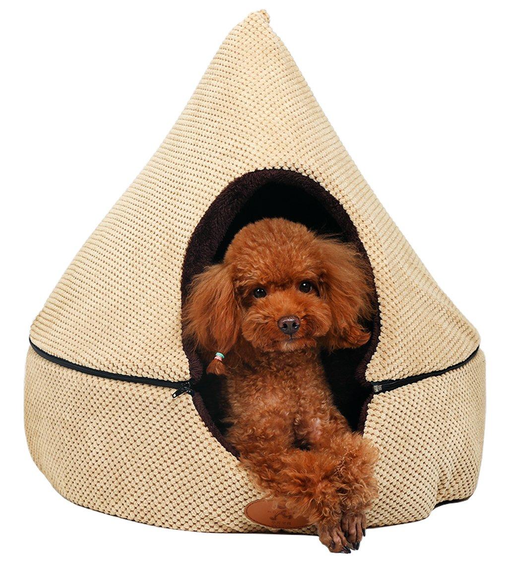 Beige Large Beige Large PLS Birdsong Pointy Dog Cave Cuddle Dog Bed, Soft Dog House, Two Modes, Pet Bed, Dog Beds for Medium Dogs, Completely Washable, Beige, Large