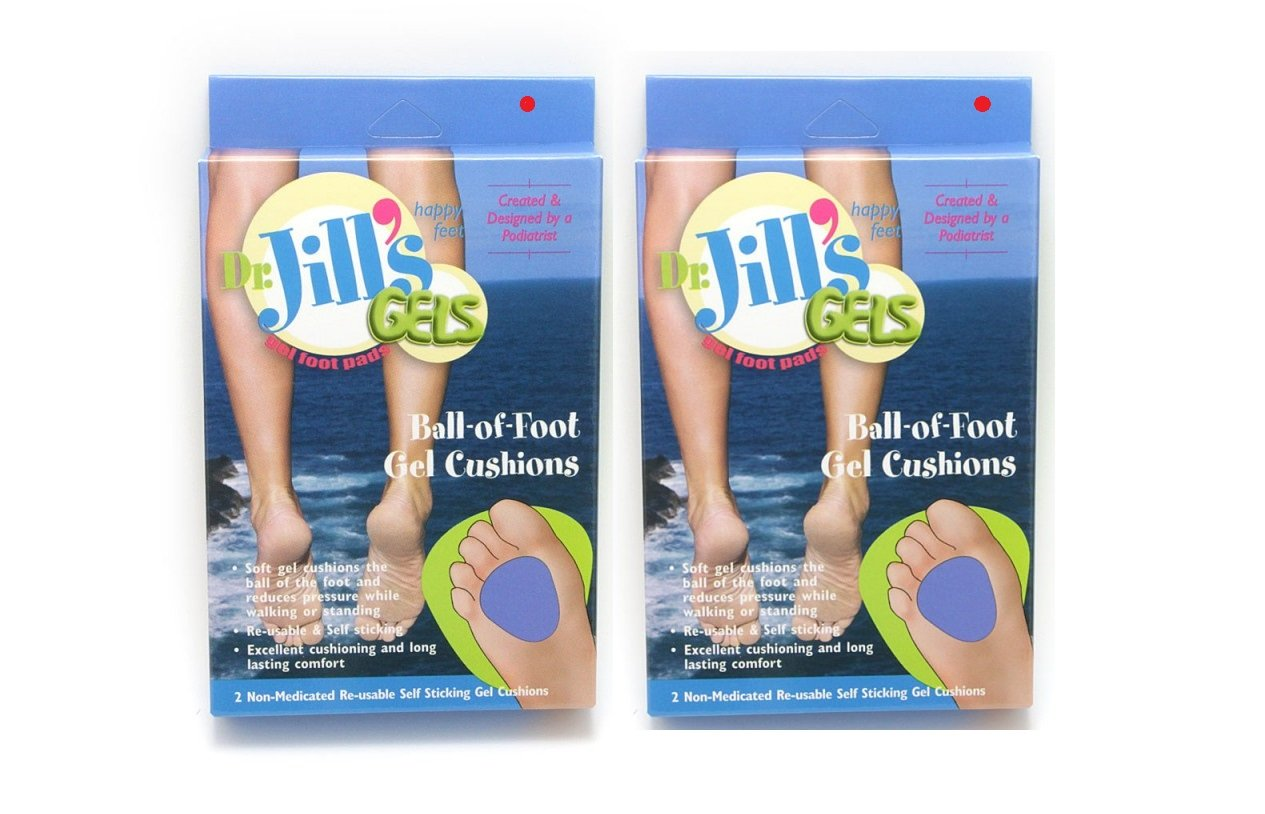 Dr. Jills Gel Ball of Foot Cushions 1/4'' Thick (4 Pads Self-sticking and Re-usable)