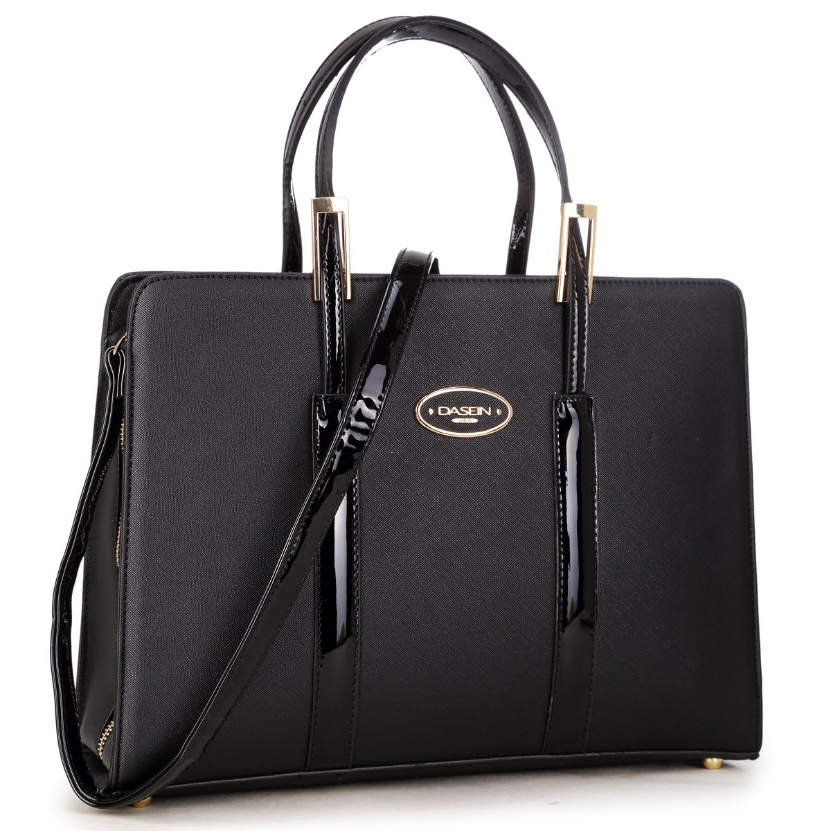Women Leather Tote Briefcase Laptop Tablet Bag Large Work Handbag Zip Around Black