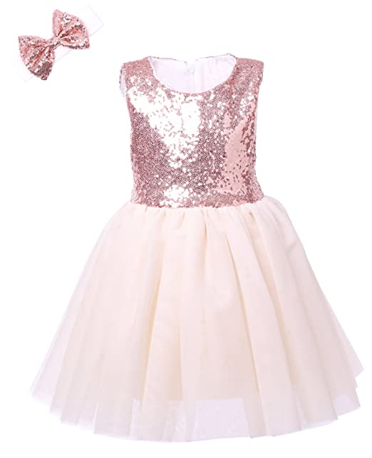 2e2d09803fcba8 Amazon.com  Cilucu Flower Girl Dress Kids Party Dress Tutu Toddler Pageant Bridesmaid  Sequin Dresses Birthday Gown Rose Gold Off White  Clothing