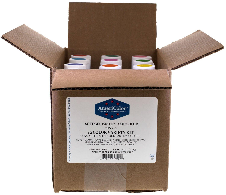 Amazon.com: AmeriColor Set of 12 Soft Gel Paste Food Color 4.5 ...
