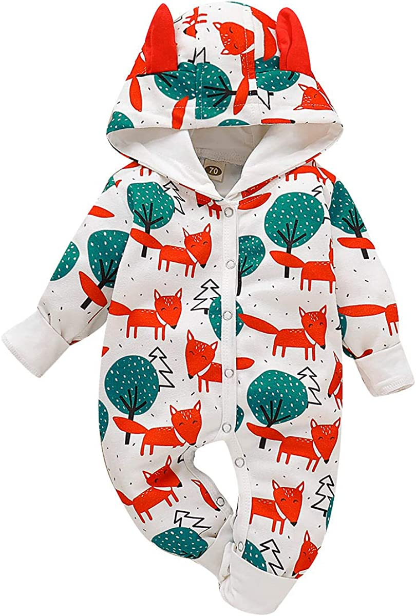 Simplee kids Baby Girls Romper Long Sleeve Pajamas for Spring 0-24 Monthes