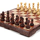 アンティーク チェス マグネット 木製風 ボードを折りたたむと収納可能 【日本語説明書・保証書付き】 (Lサイズ)