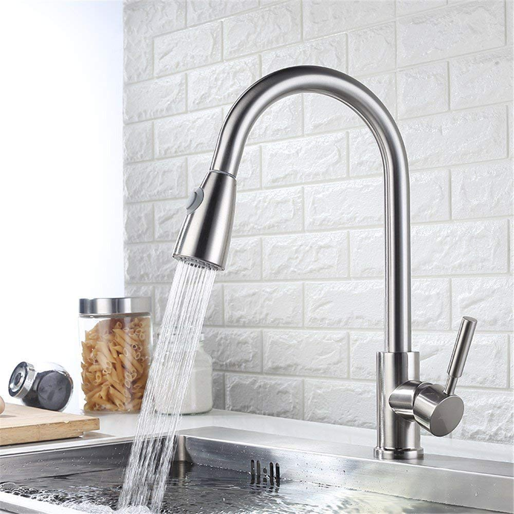 A Two-section Drawing Water Oudan Cold Drawing The Whole Kitchen Faucet Mixer 304 Stainless Steel Vegetables Basin Faucet Copper redatable Ceramic Valve Core, B Paragraph Satin Single Water -Jomoow